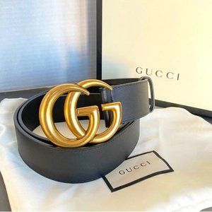 ◕Gucci; Black Leather Gold Double ''GG'' ;Belt95CM